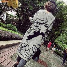 Segno in primavera e in autunno periodo e il disegno astratto più allentato del manicotto del blocco del maglione cardigan lungo cappotto del maglione(China)