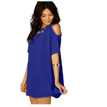 7 Colors Women Sexy Chiffon Beach Dress 2016 Summer Off Shoulder O-Neck Solid Plus Size Causal Femme Mini Vestidos DR2362A(China (Mainland))