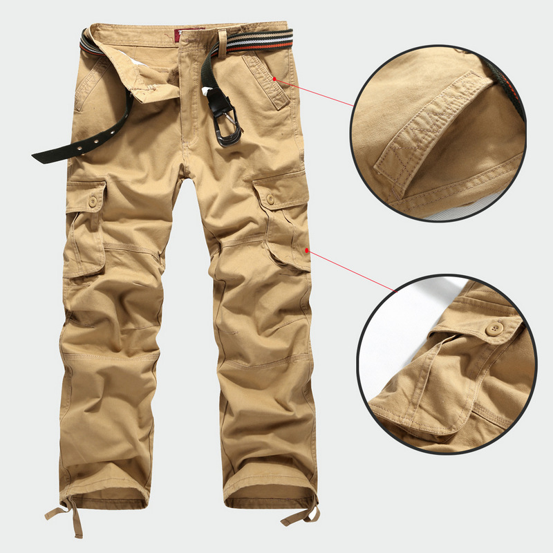Pockets Outdoor Cargo Canvas Pants Sports Hiking Casual Tactical Trousers(China (Mainland))