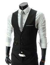 2015 New Arrival Men Suit  Dress Vests Men's Fitted Leisure Waistcoat Casual Business Jacket Tops Three Buttons free shipping(China (Mainland))