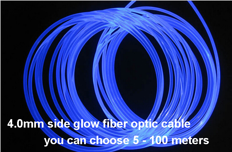 5meters 4.0mm Side Glow PMMA Fiber Optic Cable led lights for cars(China (Mainland))