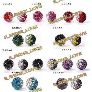 Christmas Ornaments Mixed Shamballa Beads 10mm AB Clay Gradient Crystal Shamballa Balls Mix Option ESHAmix1
