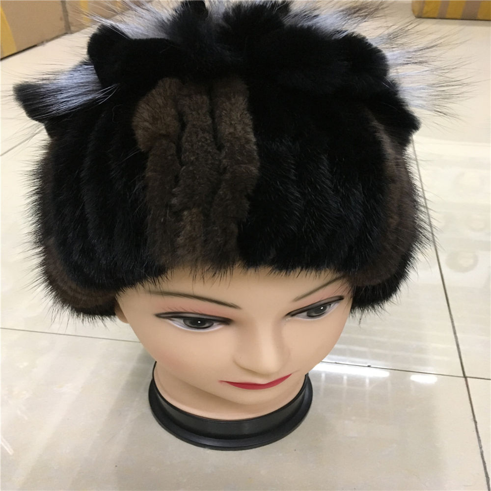 2016 new real women winter rex mink fur hat with a silver fox fur and rabbit knitting wool lined with 06D(China (Mainland))