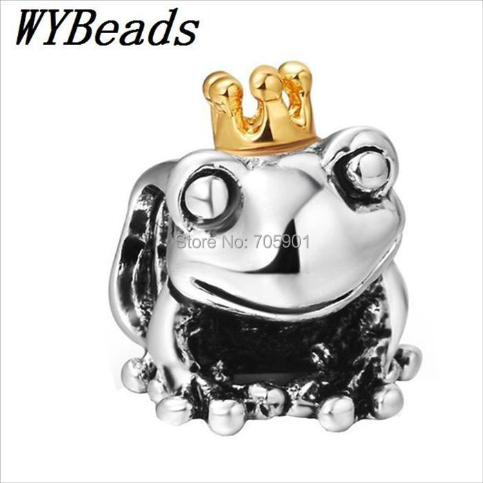New Brand! 925 Sterling Silver Charm 14KP Frog Prince Crown European Charms Silver Beads For Snake Chain Bracelet DIY Jewelry(China (Mainland))
