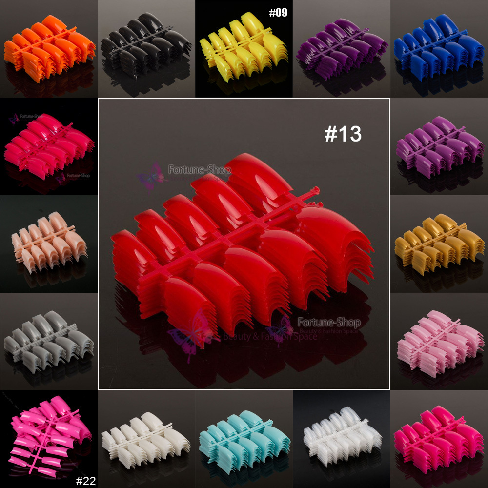 100pc/lot Acrylic french false nail tips colored false nail tip nail strips decals 22 different colors optional(China (Mainland))