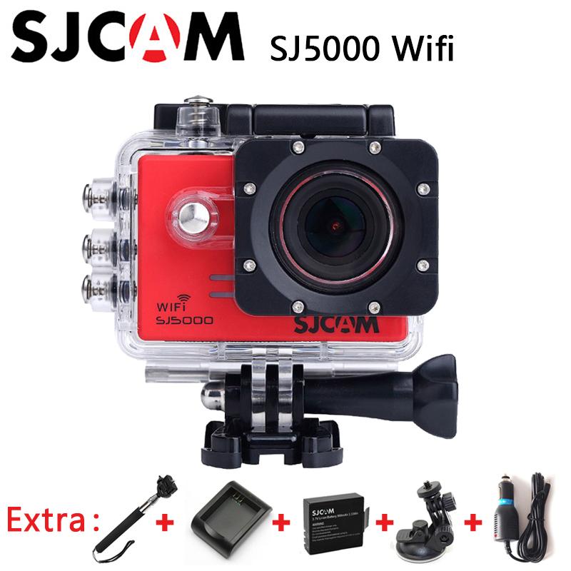 Original SJCAM SJ5000 WiFi Novatek 96655 1080P Waterproof Sport Action Camera +Car Charger+Holder+Extra Battery+Charger+Monopod(China (Mainland))