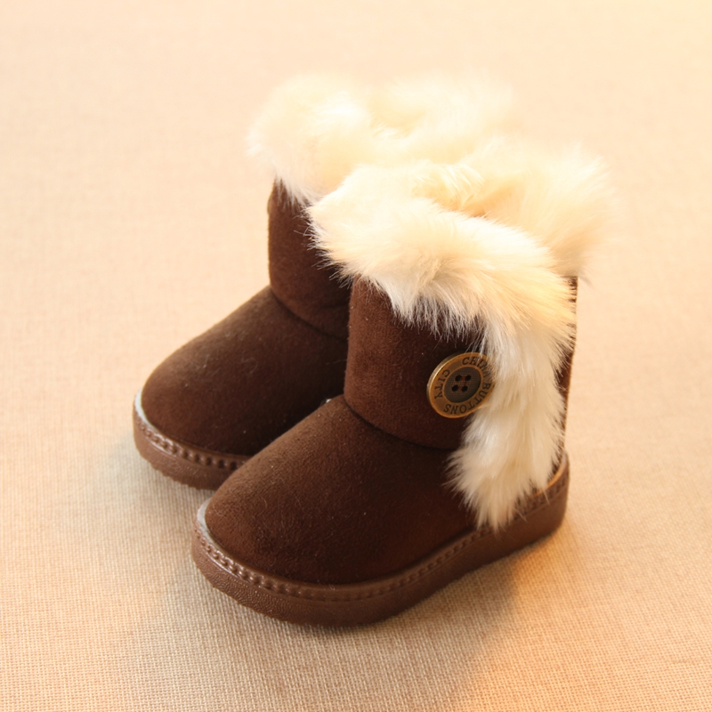 Winter Children Boots Thick Warm Shoes Cotton-Padded Suede Boots for Girls Snow Boots Kids Shoes Black Brown Red Pink(China (Mainland))