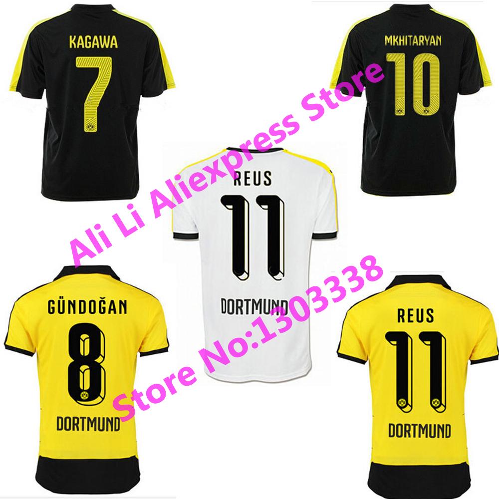 2016 Borussia Dortmund Soccer Jersey 15 16 Jersey Borussia Dortmund BVB 15/16 Home Away REUS Gundogan HUMMELS AUBAMEYANG Shirt(China (Mainland))