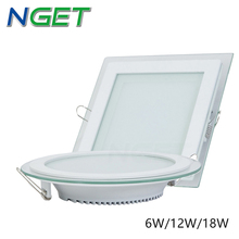 AC110/220V LED Panel Light 6w 12w 18w Round or Square glass led down light Recessed Ceiling lamp,white warm white, free shipping(China (Mainland))