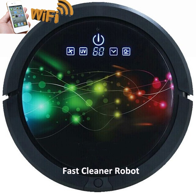 Smartphone WIFI APP Robot Vacuum Cleaner QQ6 Updated With 150ml Water Tank,Sweeping, Vacuuming,Sterilize Wet Mop And Dry Mop(China (Mainland))