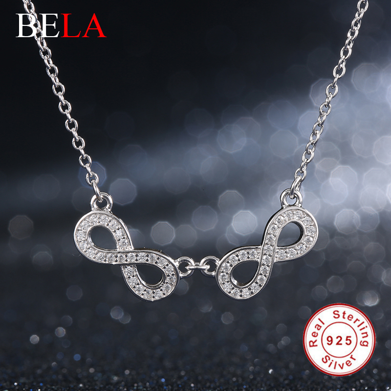 Vintage Crystal Double Infinity Pendant Necklace for Women 100% 925 Sterling Silver Chain Long Necklace for Women Fine Jewelry(China (Mainland))