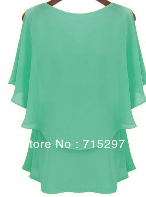 2014 fashion women summer chiffon shirt butterfly sleeves hollow shoulder big size women chiffon(China (Mainland))