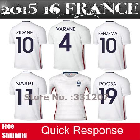 Thai RIBERY BENZEMA POGBA france jersey 2015 2016 NASRI GIROUD VARANE CABAYE French soccer jerseys 15 16 maillot de foot shirts(China (Mainland))