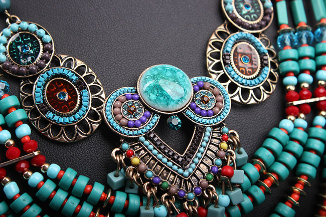 Genuine Turquoise Pendant Necklace Women Vintage Jewelry Outfit Accessory Multilayers Cocktail Necklace Luxury Design Bead Chain