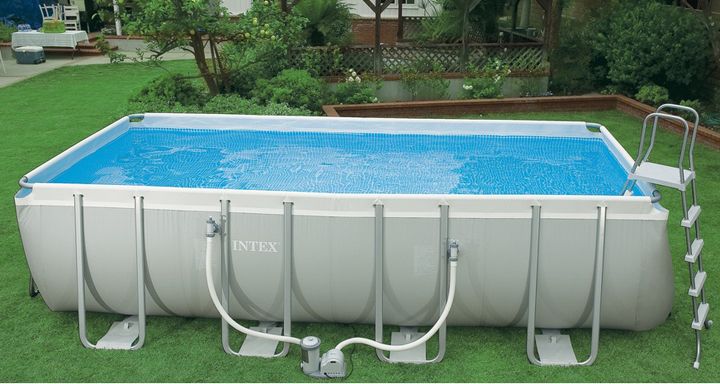 Authentic INTEX luxury super large family stand swimming pool set a gray rectangular frame pool(China (Mainland))