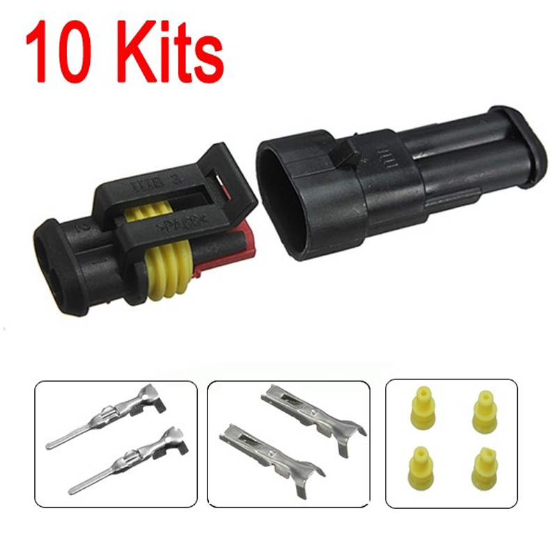 10 Kits 2 Pin Wire Connector Plug Way Sealed Waterproof Electrical Car Auto Set Waterproof Electrical Wire Connector Plug(China (Mainland))