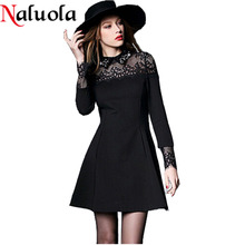 Women Dresses 2015 Women Spring Autumn Dress Slim Lace Patchwork Hollowed Women's One Piece Dresses Women Causal Dress AS1927(China (Mainland))