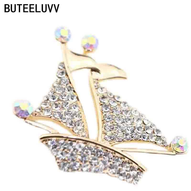 Luxury vintage Gold Plated cheap Sailboat Crystal Brooches Lapel Pins For Women rhinestone broches jewelry fashion pin y pon(China (Mainland))