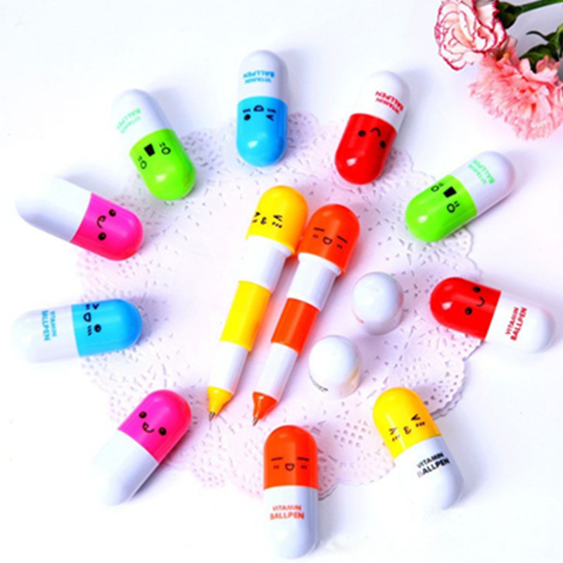 Гаджет  Cute kawaii Smiling Face Pill Ball Point Pen Telescopic Vitamin Capsule Ballpen ballpoint pen None Офисные и Школьные принадлежности