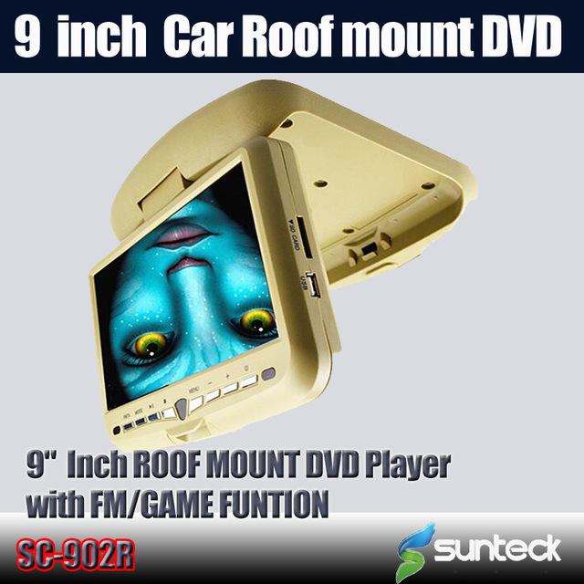 Free Shipping  9 inch Flip Down Car DVD palyer with 32bit game+MPEG4+USB+SD+FM+IR funtions