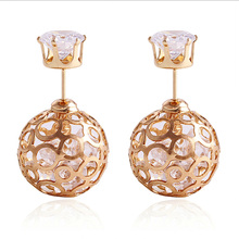 2 pair 6% discount !korean aros double pearl Rhinestone fine jewelry earrings for women earrings Crystal gold stud earrings E698(China (Mainland))
