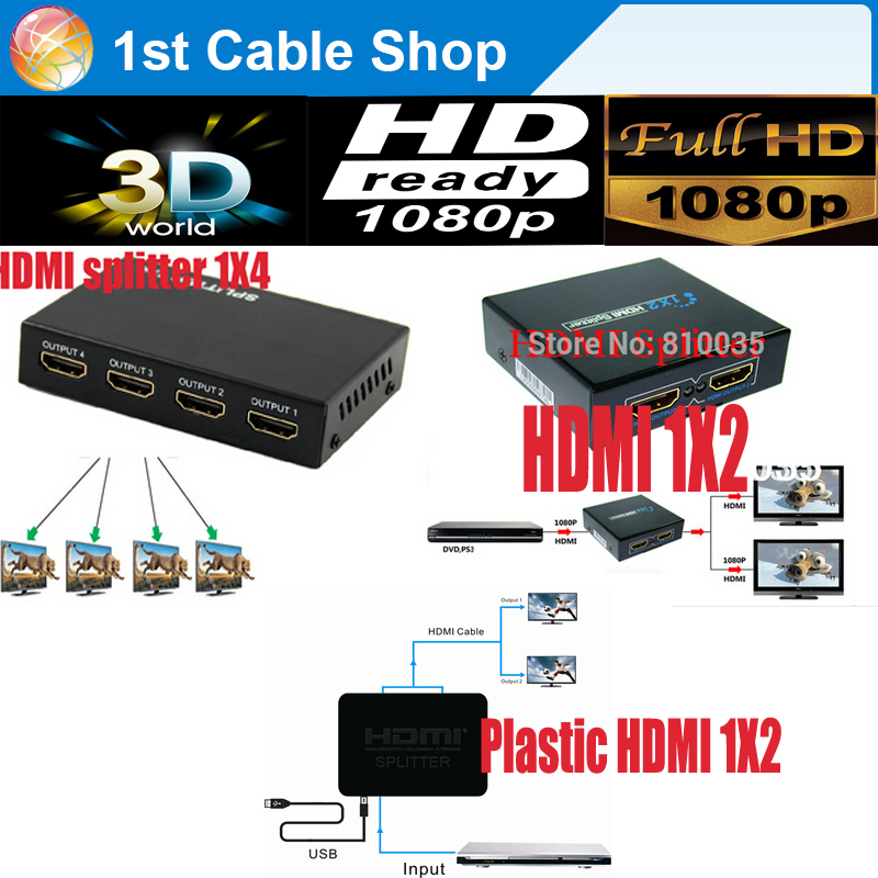 Free shipping 1pcs HDMI splitter 1X4,HDMI splitter 1X2 Distribuidor Hdmi full HD1080P supported with power supply(China (Mainland))