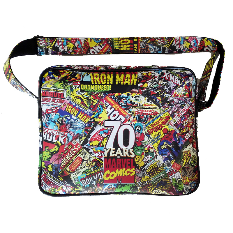 Marvel Comics 70 Anniversary Logo Multi Leather Sports Messenger Shoulder Bag 10(China (Mainland))