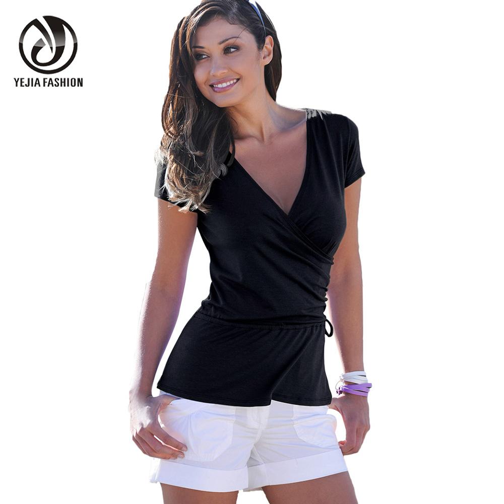 Black wrap shirt promotion shop for promotional black wrap shirt on - Top femme sexy ...
