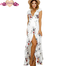 Buy 2017 Floral print chiffon split long dress Women beach summer v neck kimono sexy sundress Elegant sash wrap bandage maxi dresses for $14.88 in AliExpress store