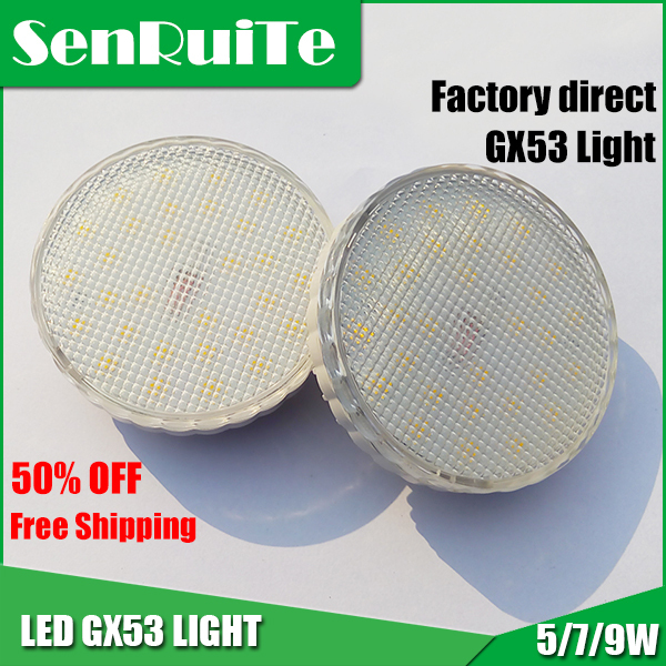 HOT sale AC100-240V LED GX53 light lamp 5W/7W//9W SMD Chip White/ Warm White GX53 LED Cabinet Light(China (Mainland))