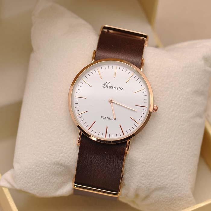 Luxury Brand 2015 New Geneva Brand Men s Fashion Wristwatch PU Leather Band Quartz Clock Platinum