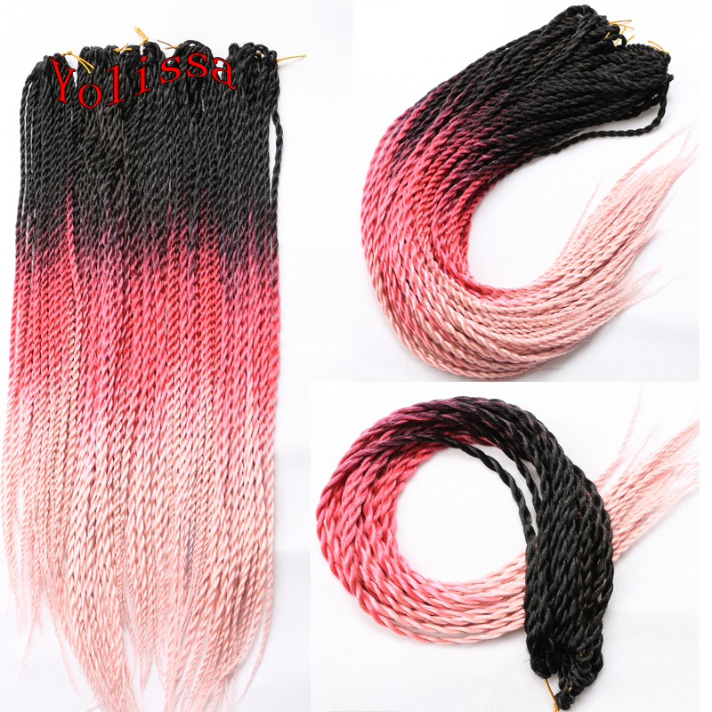 """Free Shipping Afro Kinky Marley Ombre Kanekalon Braiding Hair 24"""" Senegalese Twist Crochet Synthetic Braids Hair Extensions(China (Mainland))"""