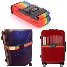 Free Shipping 1pcs Minorder Rainbow Travel Luggage Suitcase Strap Luggage suitcase Secure Lock Safe Belt Strap 2m baggage Belt(China (Mainland))