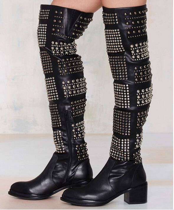 2015 Newest Valdez Rivets Rhinestone Studded Tigh High Women Boots Low Square Heel Side Zip Zapatos Mujer Shoes Women Booties<br><br>Aliexpress
