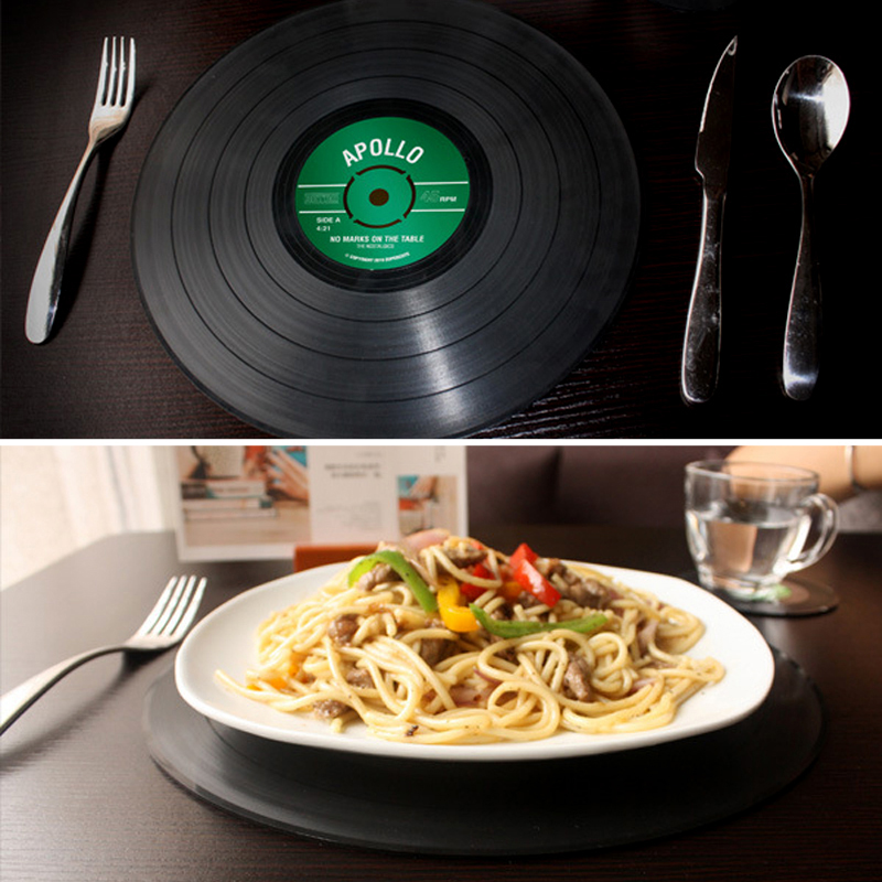 2pcs Vinyl Record Silicone Big Size Dining Tables Mats Table Placemat Coaster Durable Round Non-Slip Heat Resistant Mat Coaster(China (Mainland))