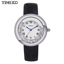 TIME100 Women's Quartz Watches Black Leather Strap Flowing Crystal Big Dial Roman Numeral Ladies Wrist Watches For Women