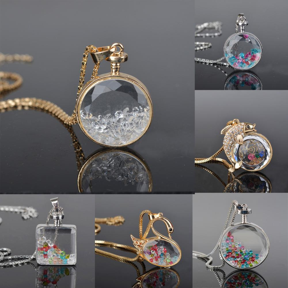Summer Style Charms Floating Locket Rhinestone Beads Crystal Necklace & Pendants Long Chain Statement Pendant Necklace(China (Mainland))