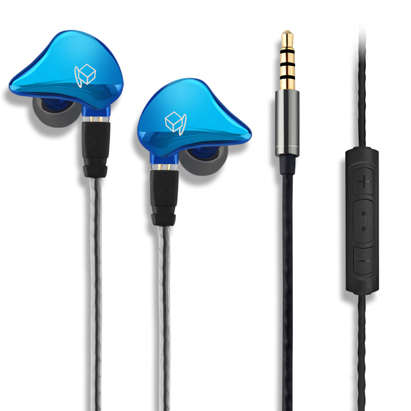 Фотография Ownluxe A2 In-ear Earphone HiFi Sport Metal Earbuds Crystal Stereo Headset High Quality Dual Driver Earphones With Microphone