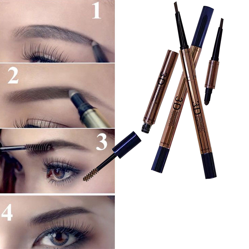 Fashion Korean Eyebrow Makeup Double-end 3 In 1 Long Lasting Eye Powder +Cream+Pen Waterproof 3D Eye Brow Pencil(China (Mainland))