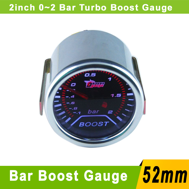 "2"" (52mm) Smoke Lens -1~2 Bar Turbo Boost Gauge With Sensor Car 52mm Smoke Bar Turbo Boost Meter Auto Car Meter Trubo Gauge(China (Mainland))"