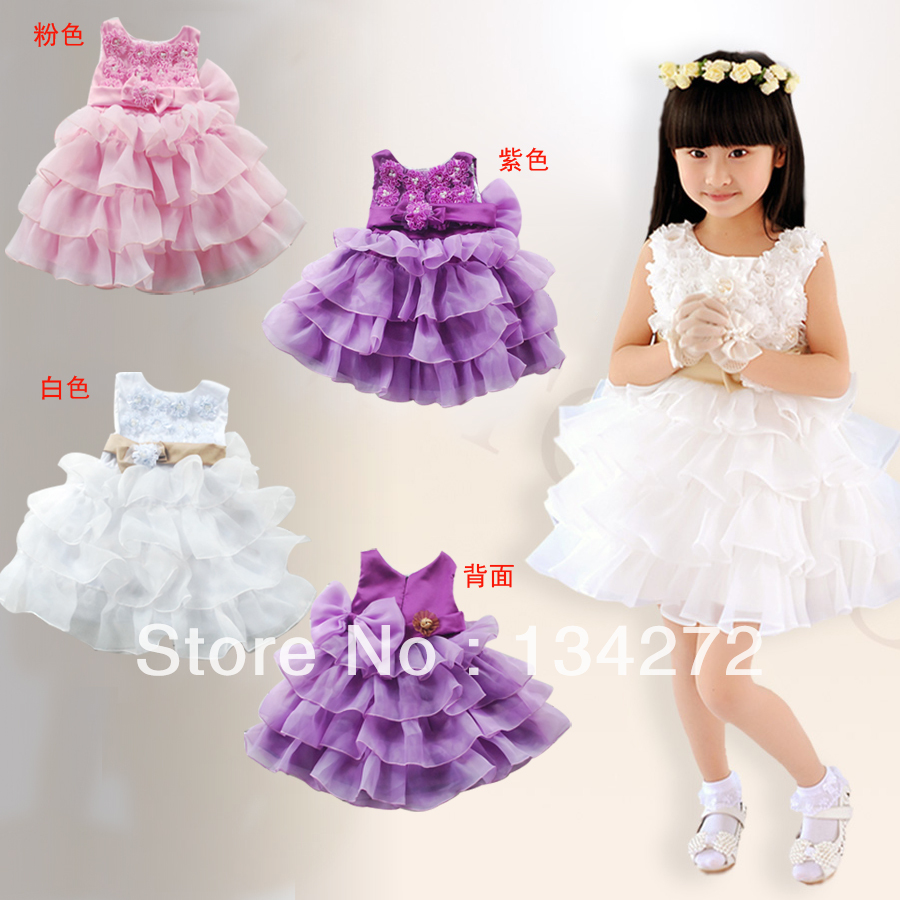 free shipping wholesale good quality and beautiful children's clothing female child flower white puff formal tank dress summer(China (Mainland))