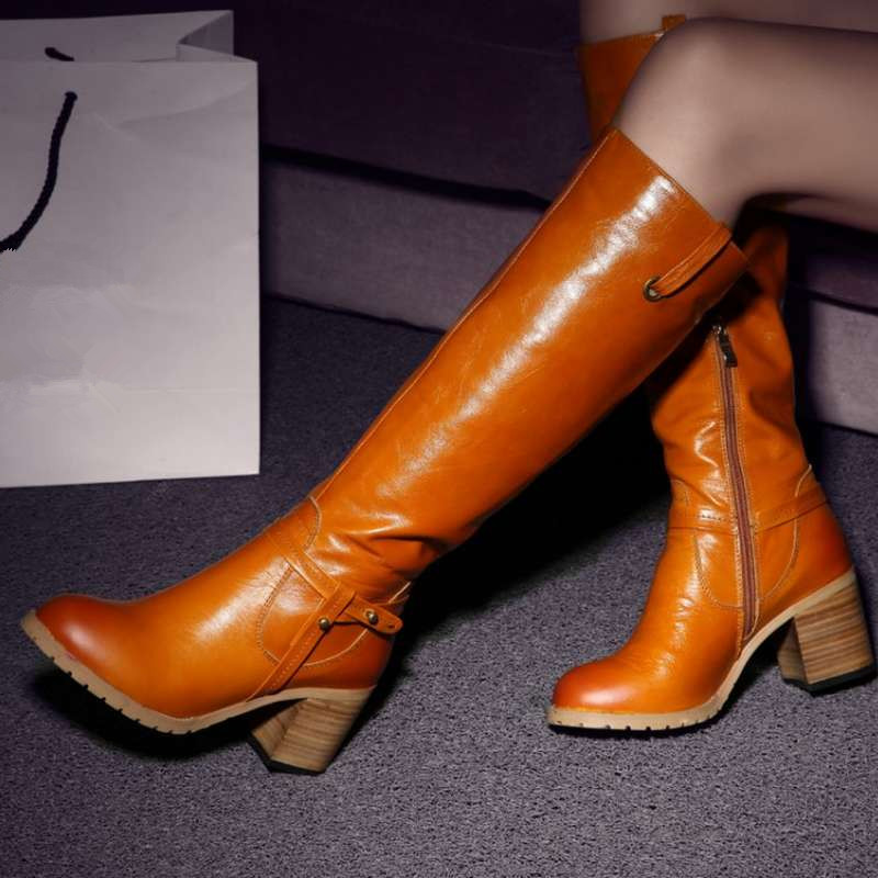 genuine leather boots shoes 2015 vintage thick heels