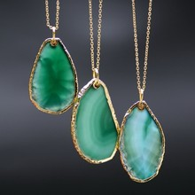 18k Gold Plated Natural Agate Pendant Red Blue Green Purple Quartz Druzy Agate Necklaces Statement Necklace
