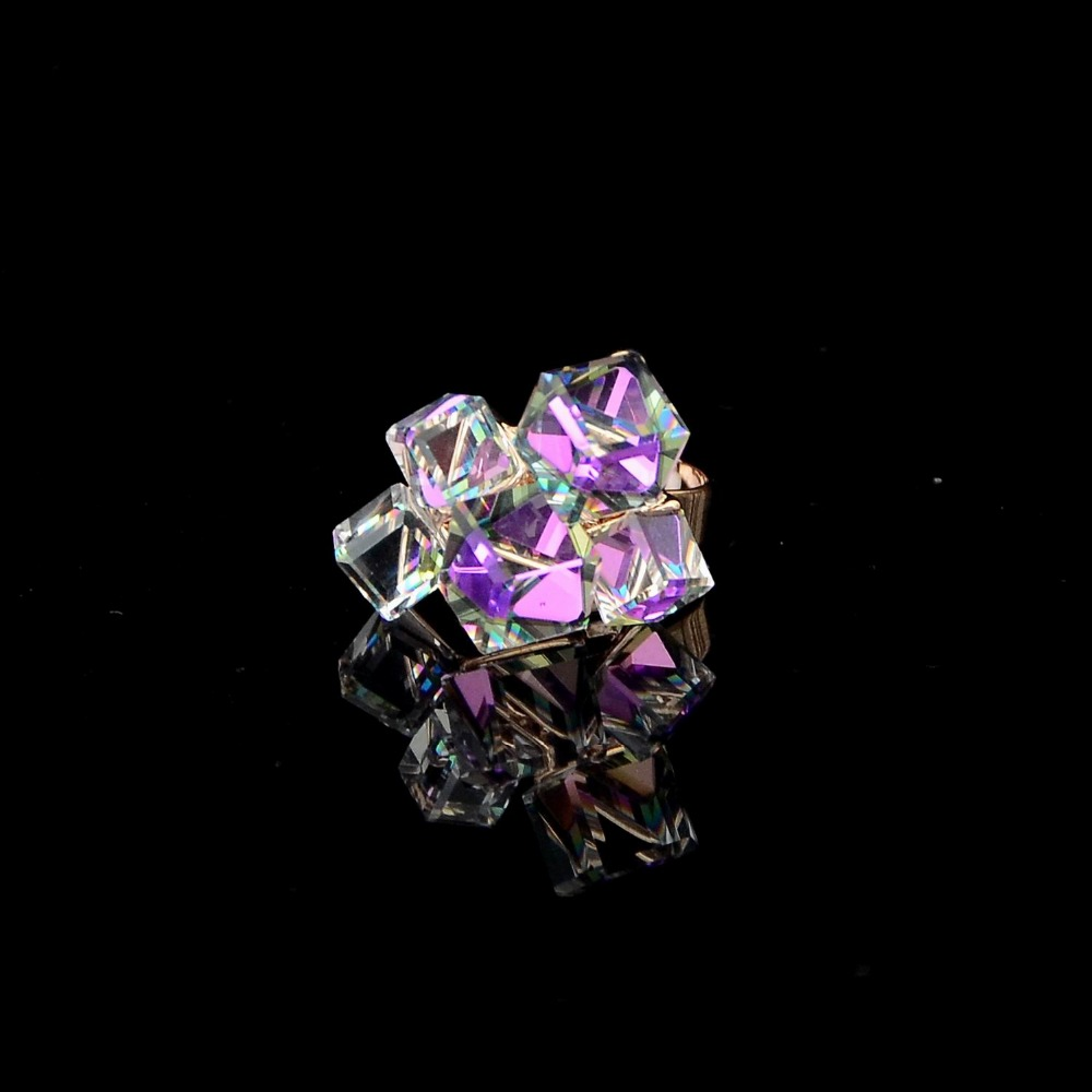 Promotion Hot SalesShine Four Uneven Sized Magic Cube Square Crystal Ring Adjustable Exaggerate Ring For Woman 119KKR(China (Mainland))