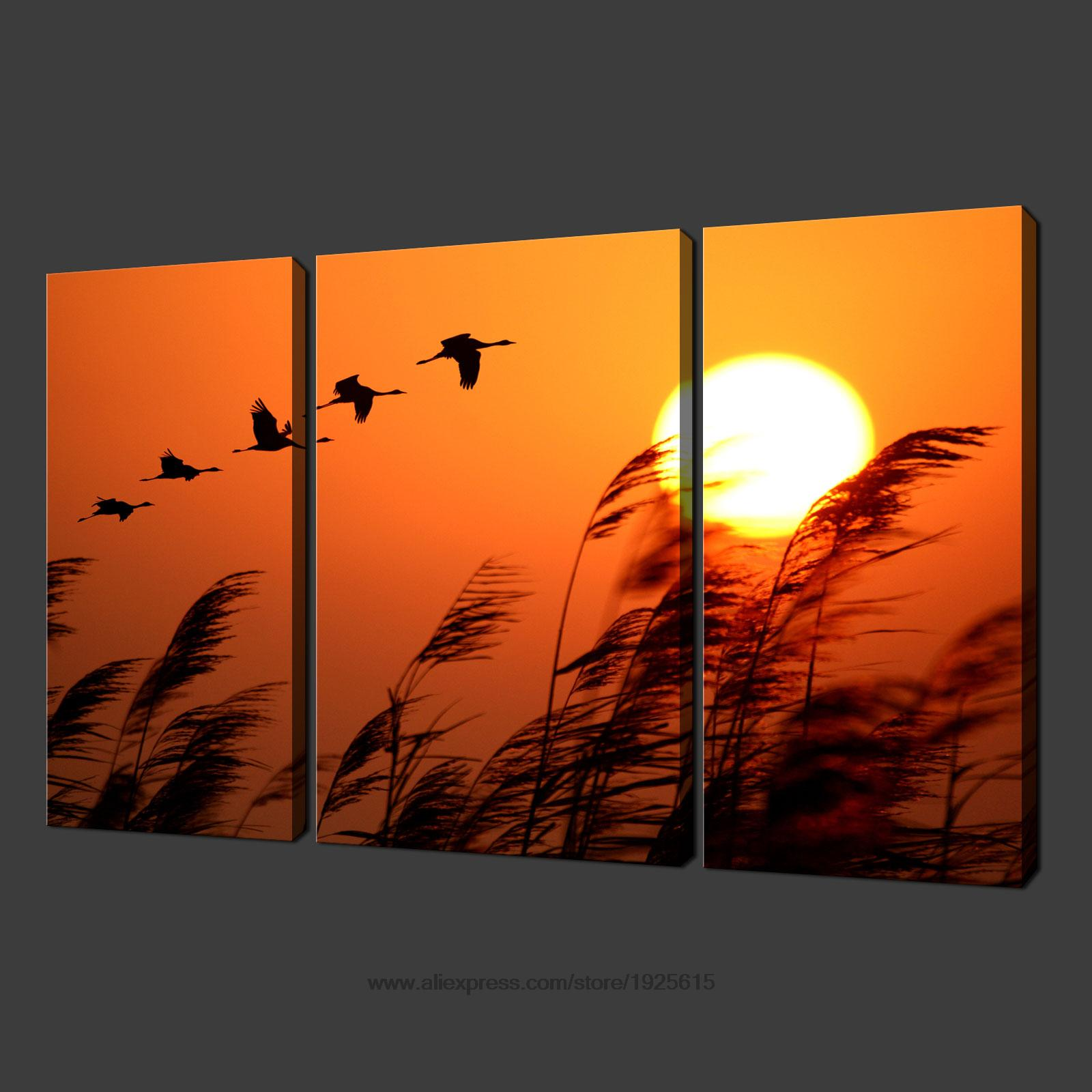 3 pcs birds sunset set of three canvas s picture wall art for Set of three canvas paintings