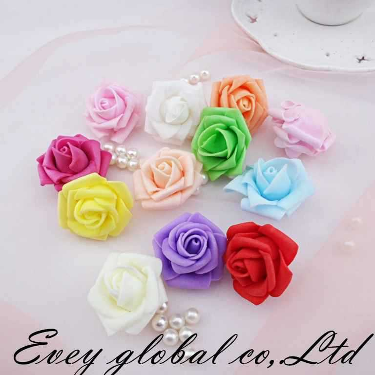 Real touch Mini EVA foam artificial flowers rose heads wedding home decoration Handmade artificial flores cheap 12 colors(China (Mainland))