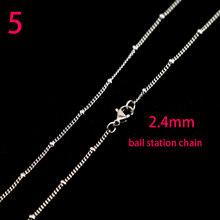 Wielka promocja! autentyczne 316 Stinless stali nierdzewnej srebrny łańcuch naszyjnik z Lobster zatrzaski fit mężczyźni kobiety wisiorek 10 wzorów 16-30 cal(China)