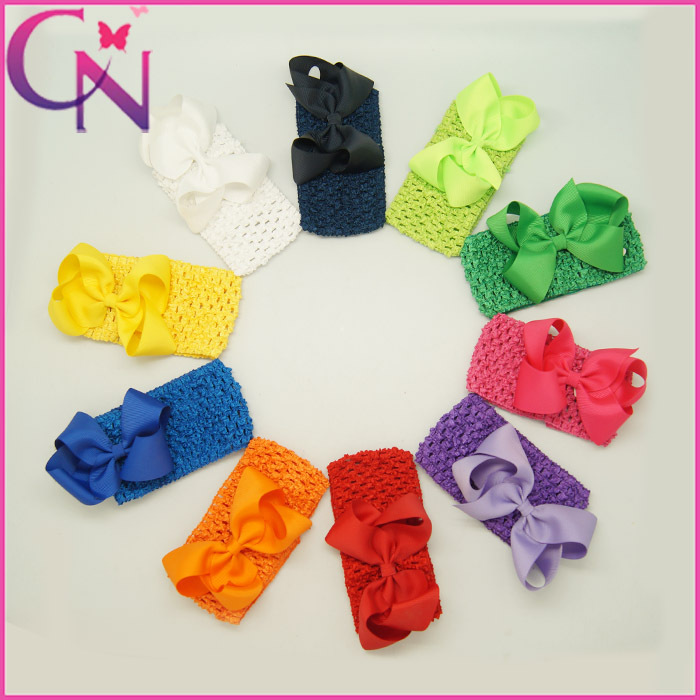 Hot Sale!Toddler Baby Crochet Head Band with Solid Grosgrain Ribbon Hair Bow 100pcs/lot 10colors Factory outlet(China (Mainland))