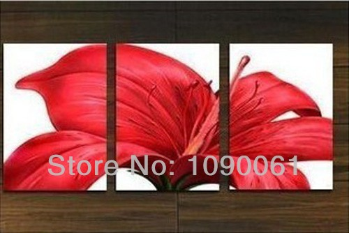 Hand painted red flower painting 3 panel canvas art modern for Red kitchen wall art