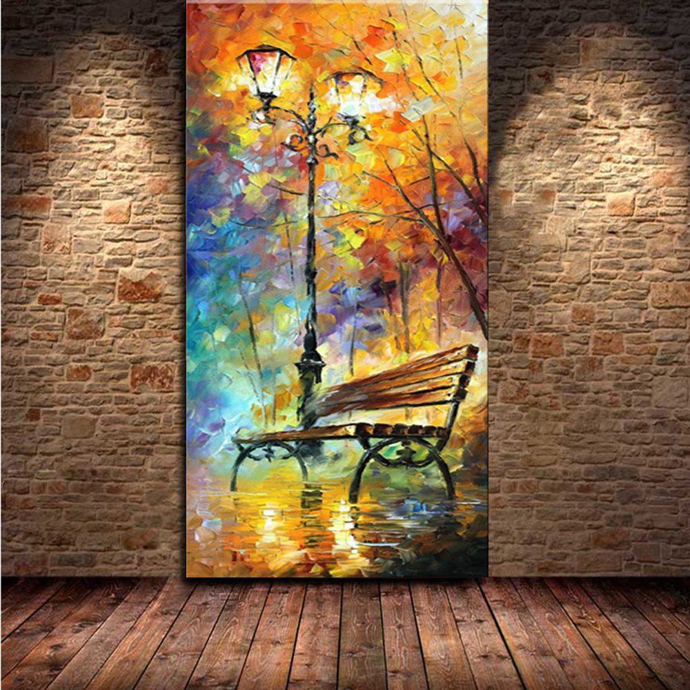 Large Handpainted Abstract Modern Wall Painting Rain Tree Road Palette Knife Oil Painting On Canvas Wall Decor Home Decoration(China (Mainland))